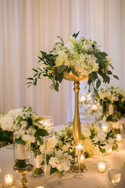 Flowers on table for wedding - mostly white
