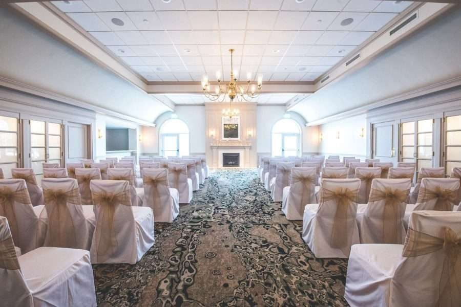 Indoor wedding ceremony space at the Ingleside Hotel in Pewaukee, WI