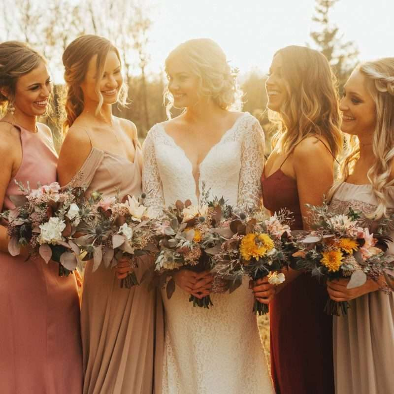 Gown design and alterations with example of bride and bridesmaids