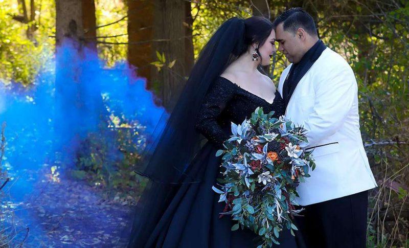 Brittany and Dimitrios dramatic Halloween wedding