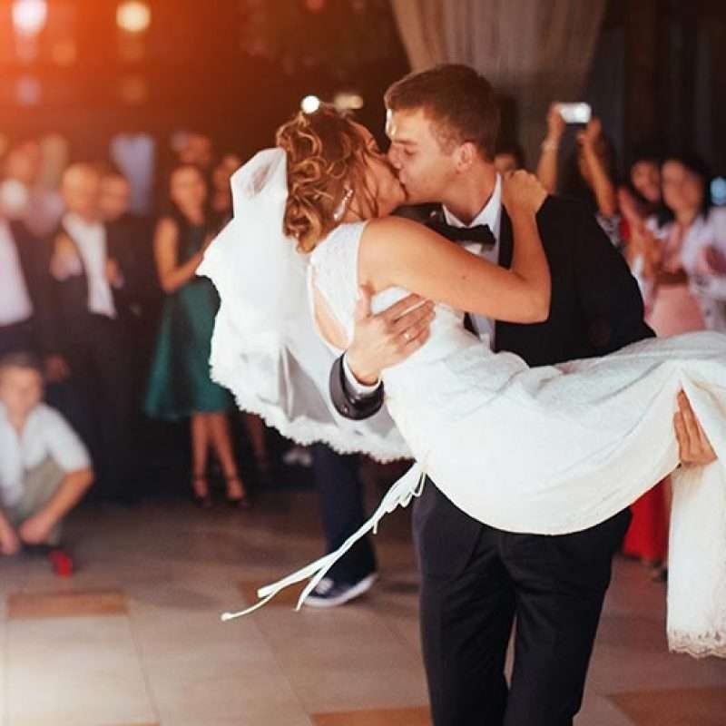 Couple dancing with great music entertainment at a wedding.